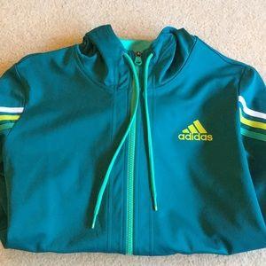 Adidas track jacket green women's large